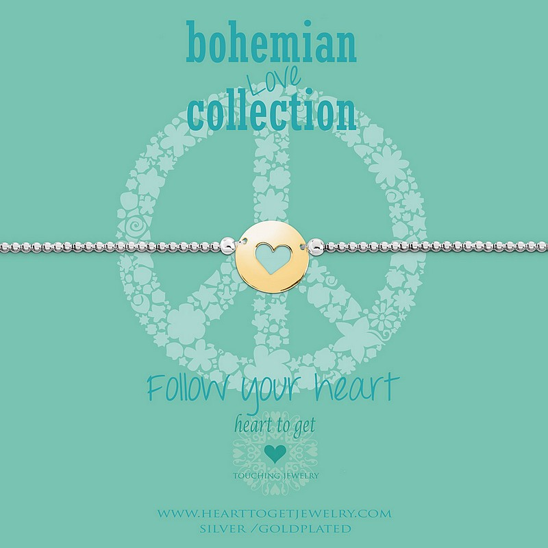 Elastisches Armband Münzen Anhänger Herz Follow Your Heart Heart